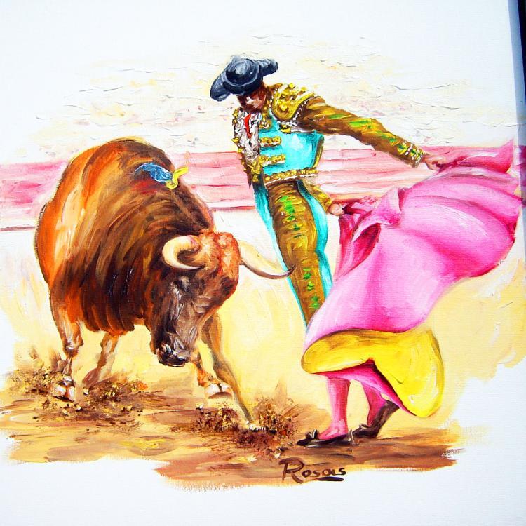 Original Oil on Canvas-Bullfight