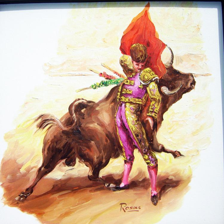 Courageous Bullfighter-Original Oil on Canvas