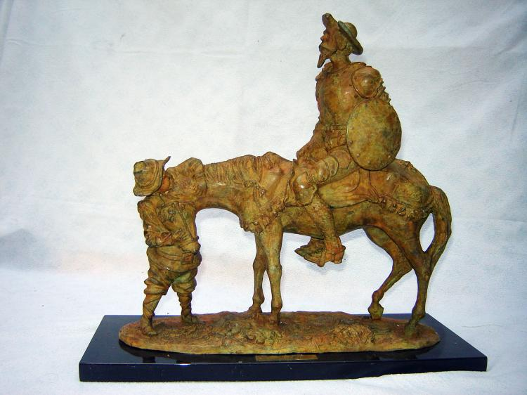Original Bronze Sculpture on Marble Base-Don Quixote