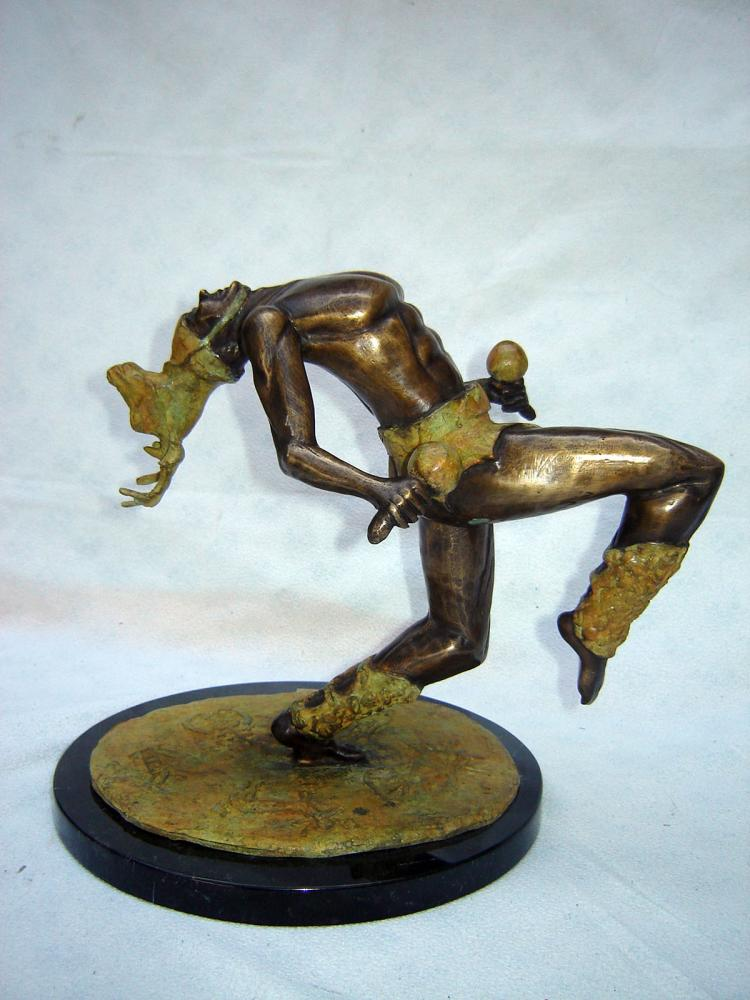 Original Bronze Sculpture on Marble Base-Yaqui Deer Dancer