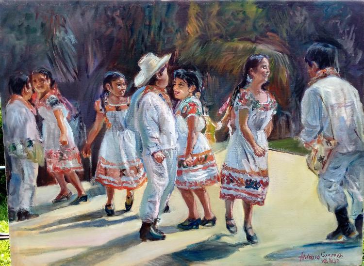 Dance-Original Emerald Ballerina- Hilario Vallejo Guzman