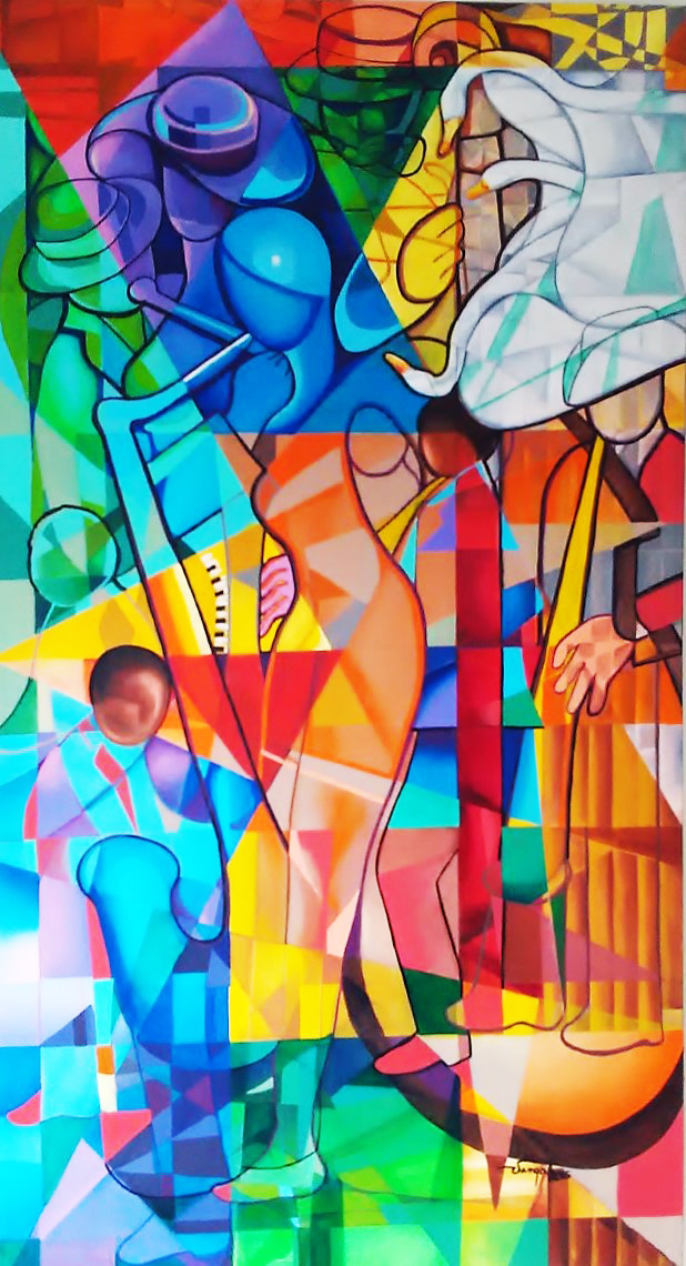Jazz in the City- Acrylic on Canvas Original-Mexican Cubist Juan Vargas