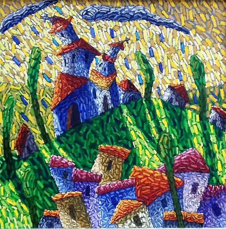 Village- Mixed Media on Canvas- Esauht