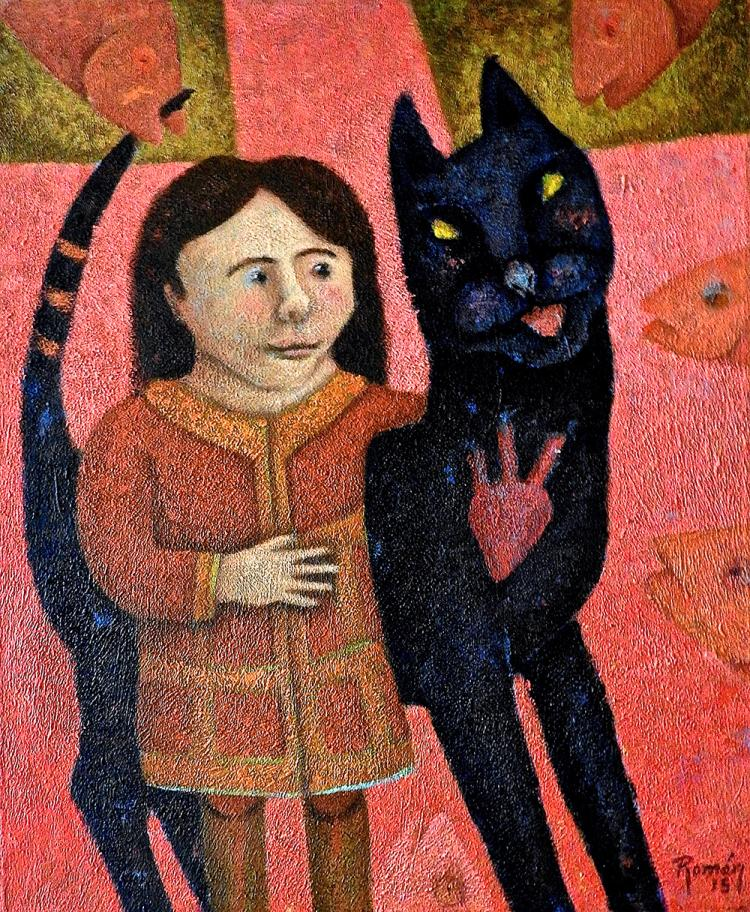 My Good Luck Kitty-Acrylic Original-Romani