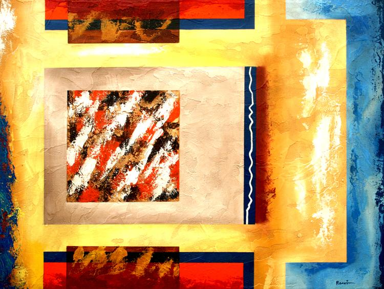 Angular Abstract-Along The Way-Original Oil on Canvas by Roavi