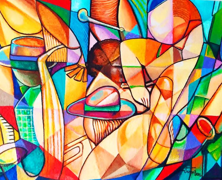 Mixed Media Original-Mexican Cubist Juan Vargas