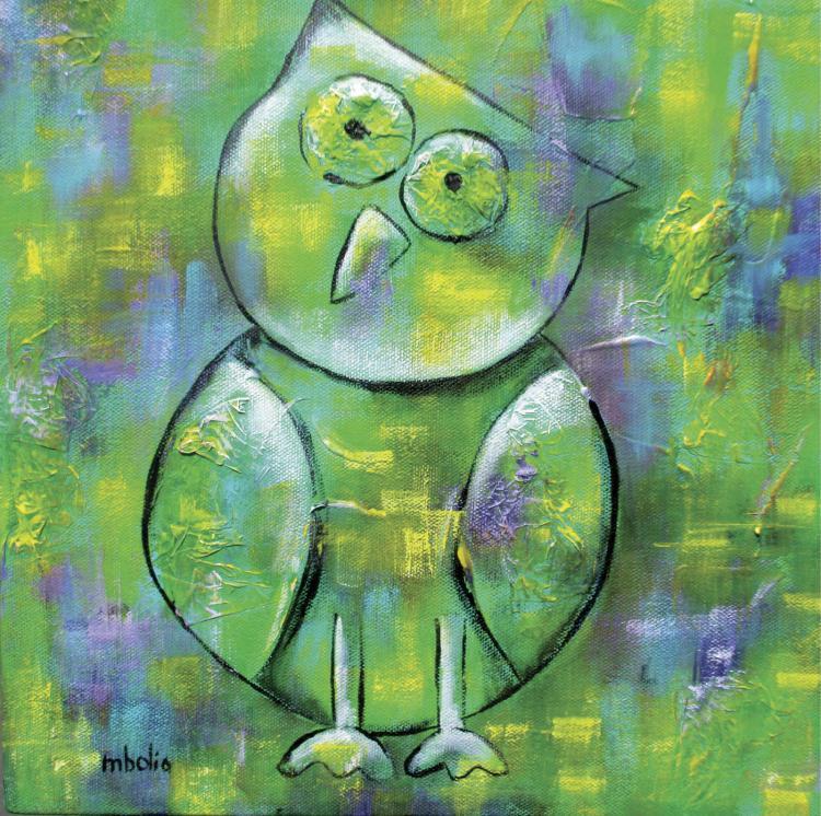Little Owl- Mixed Media on Canvas- Martha Bolio