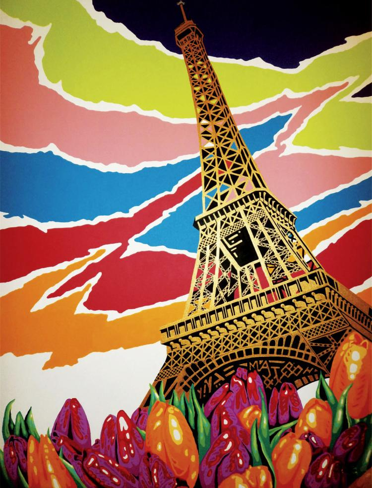 Spring in Paris-Mixed Media on Canvas- Mateo Pineda