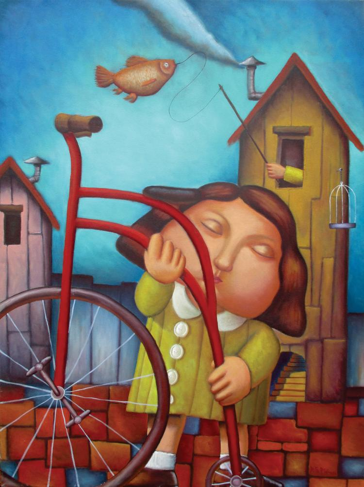 My Bicycle - Oil on Canvas by Ricardo Salazar- Ricado Salazar
