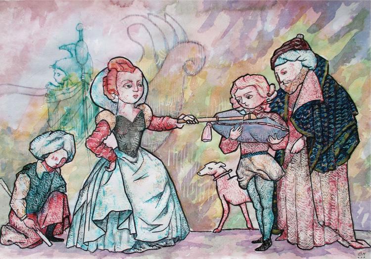Mean Little Princess -Original Ink on Archival Paper- Francisco Bravo
