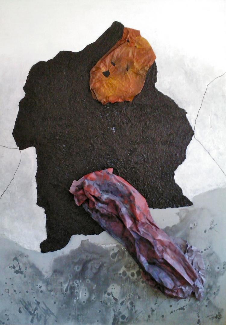 Deep Immersion- Mixed Media on Wood- Leonor Hochschild-Organic Artist