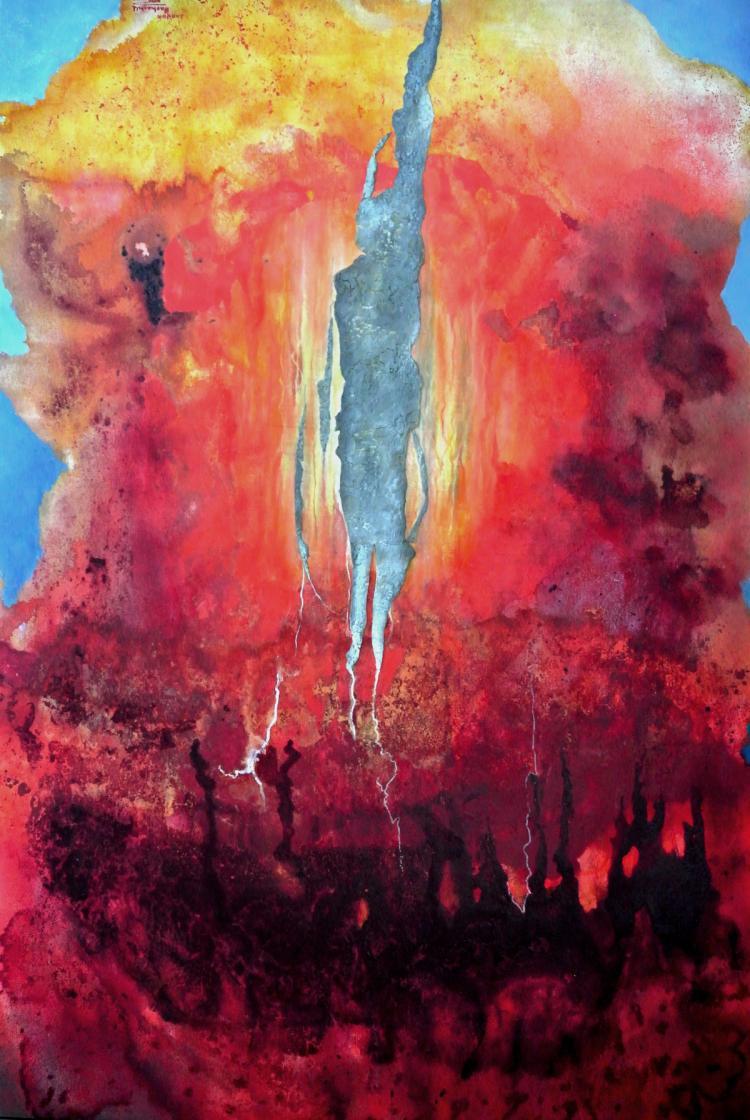 Exposed Heart- Mixed Media on Canvas- Leonor Hochschild-Organic Artist