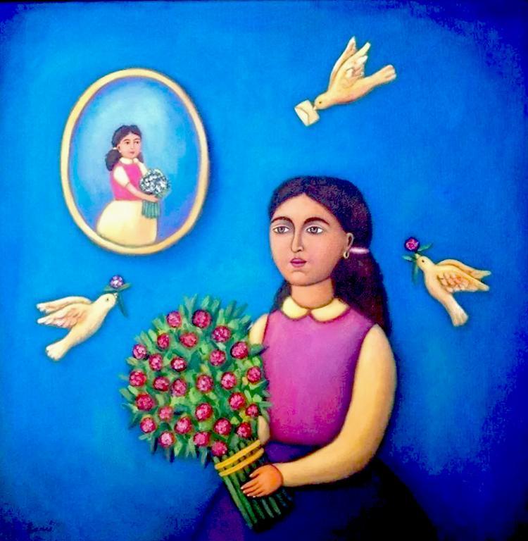 Mexican Folk Art-Oil on Canvas- Original by Esau Andrade