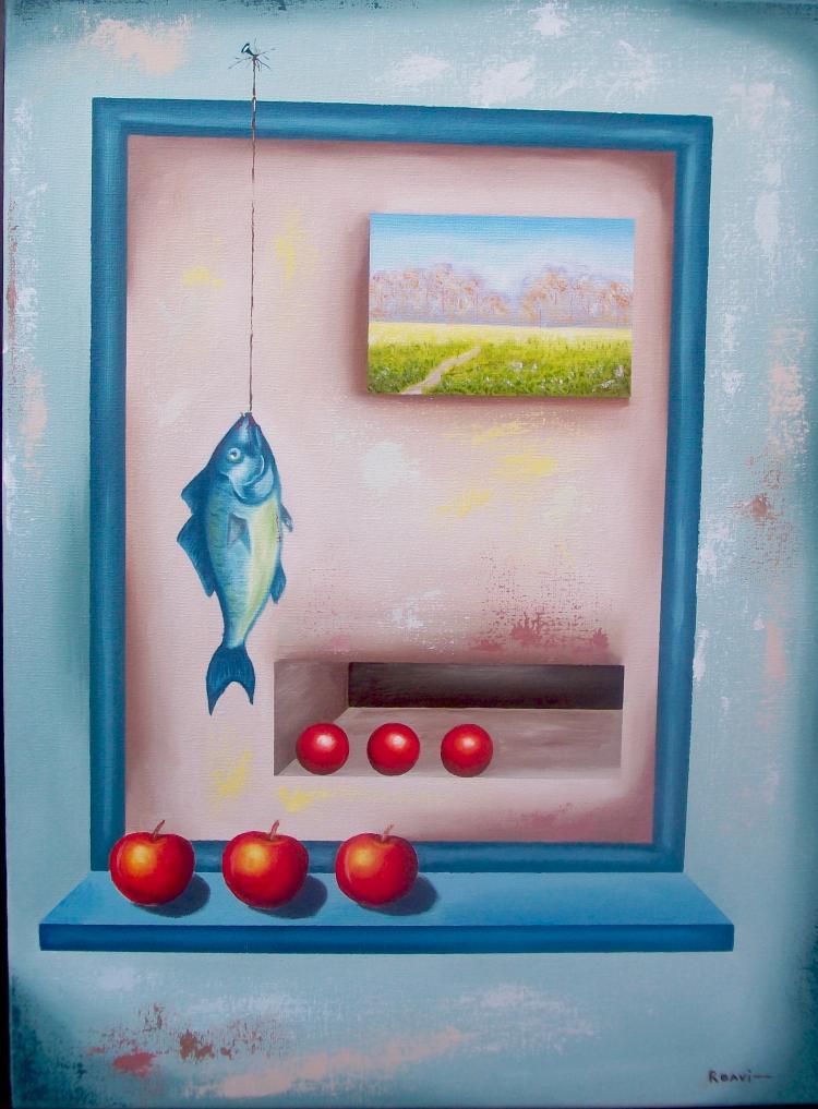 Fisherman's Reward-Original Oil on Canvas by Roavi