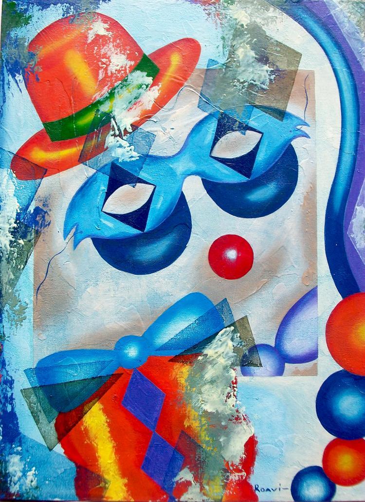 Orange Top Hat-Original Oil on Canvas by Roavi