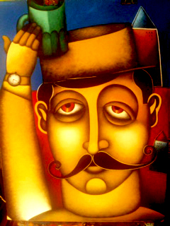 Moustached Monsieur-Original Acrylic on Canvas- Beltran