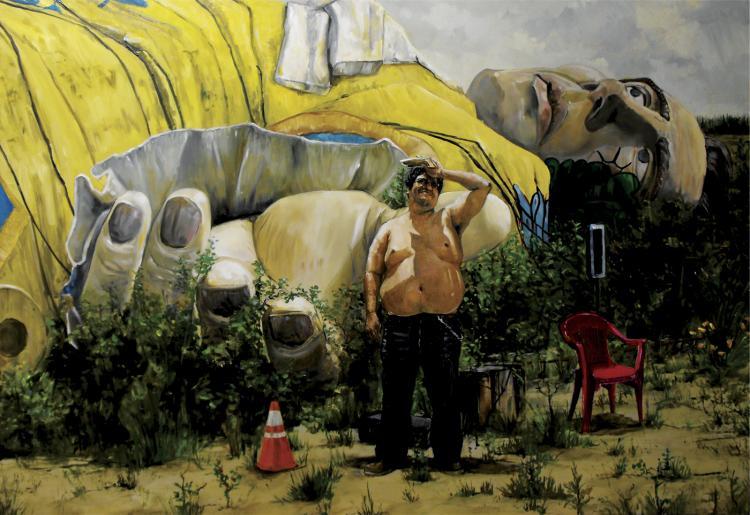 Fallen Titan-Oil on Board- Cesar Meza
