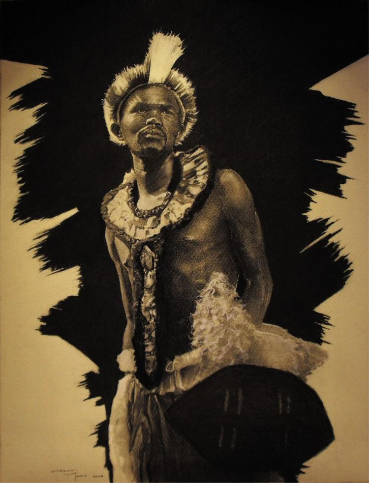 Tribal Man-Oil on Canvas Original Cesar Meza