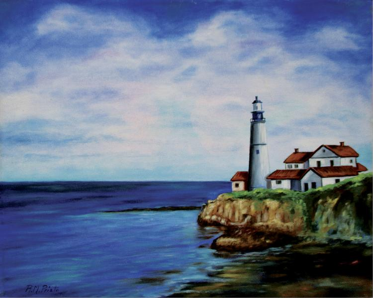 The Lighthouse-Original Oil on Canvas-Prieto