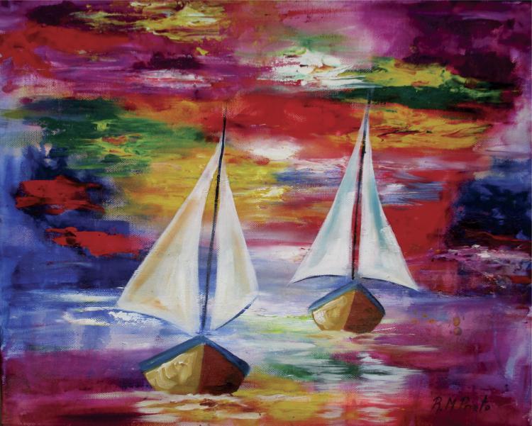 Sailboats-Original Oil on Canvas-Prieto