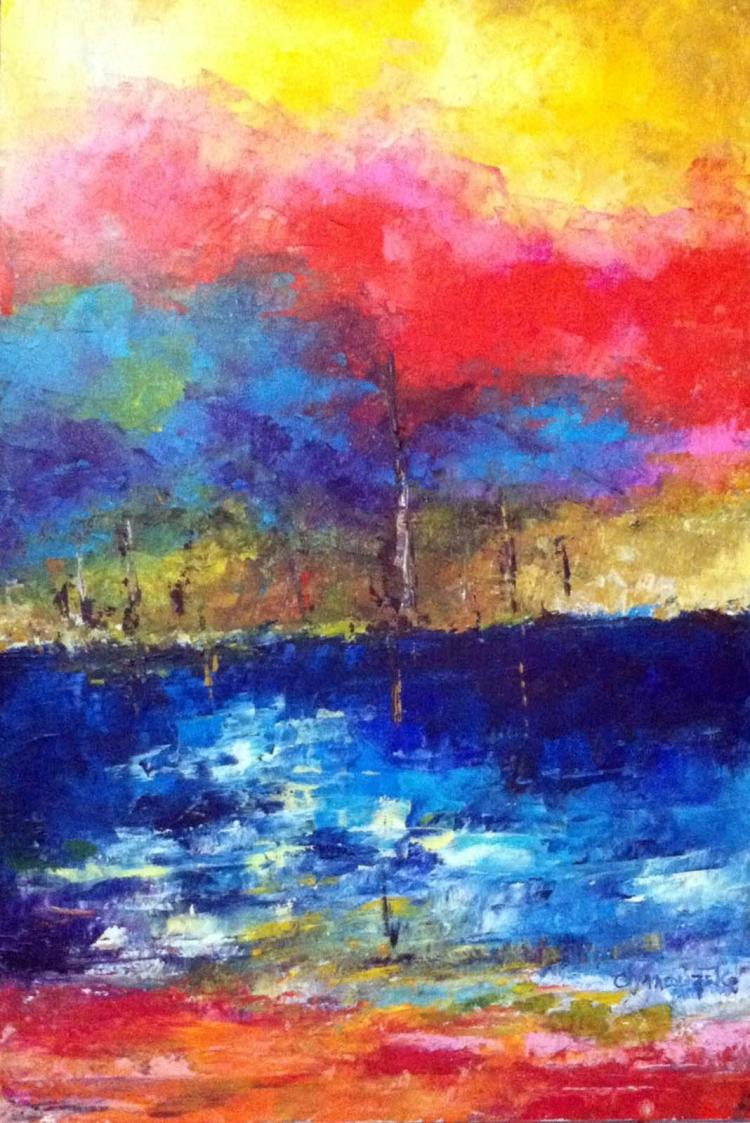 Blue Lake Bliss- Acrylic on Canvas Original- Alexandra Macouset