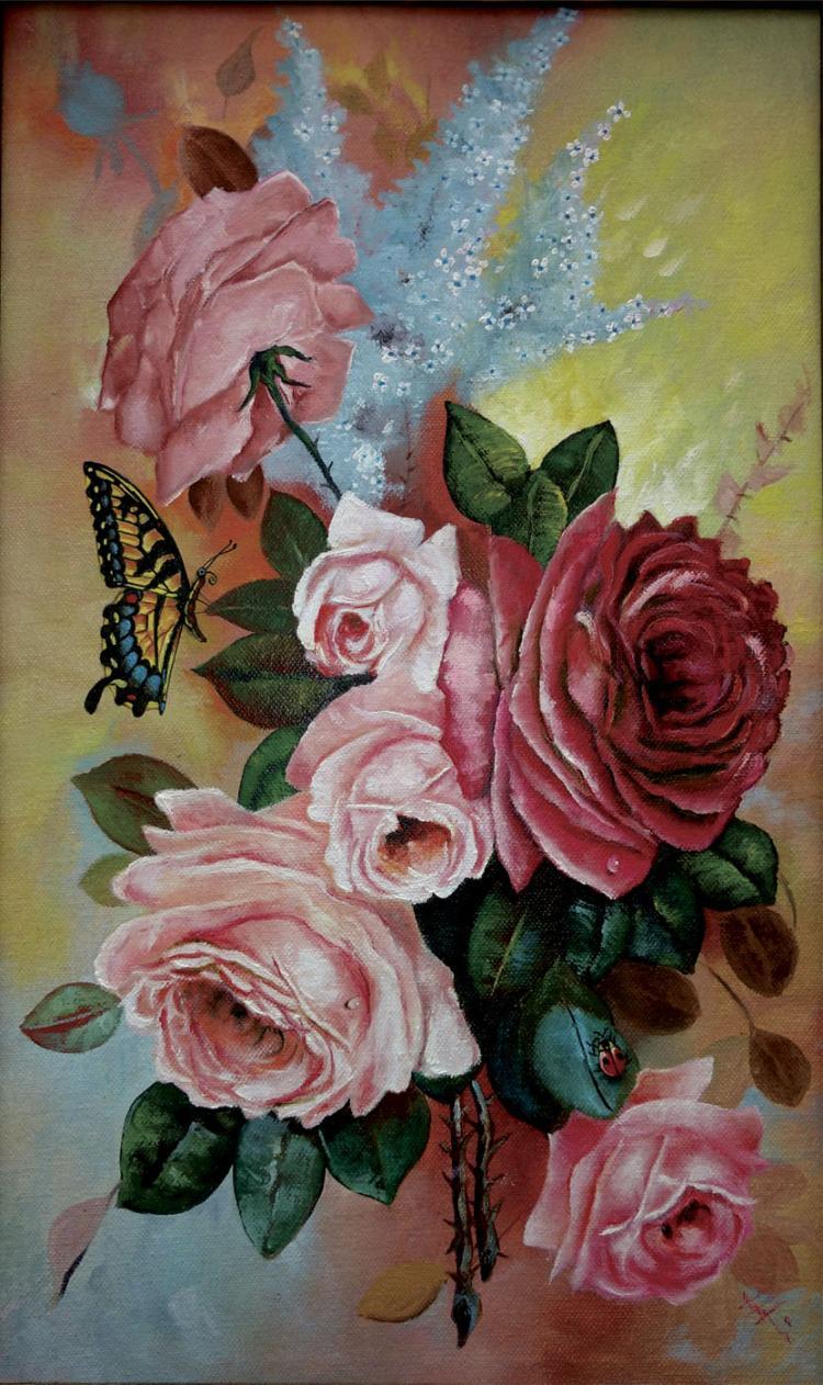 Victorian Corsage-Oil on Canvas Original Moto