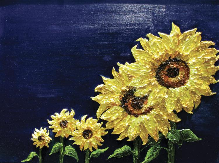 Original Oil & Texture-Sunflowers