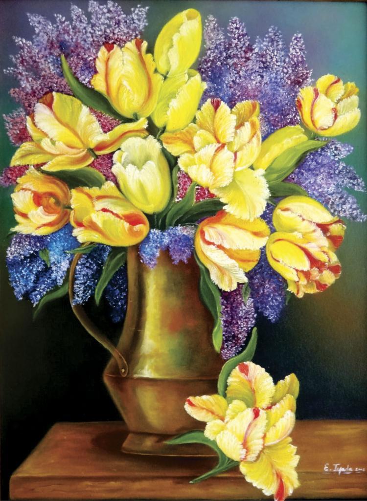 Original Oil & Texture on Canvas-Tulips