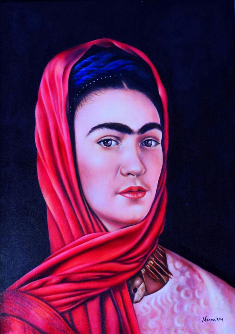Frida Red Scarf-Original-María Noemí Garfias