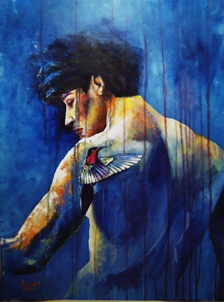 Hummingbird Echo of Liberty-Acrylic on Canvas Original Enrique Garcia de Leon