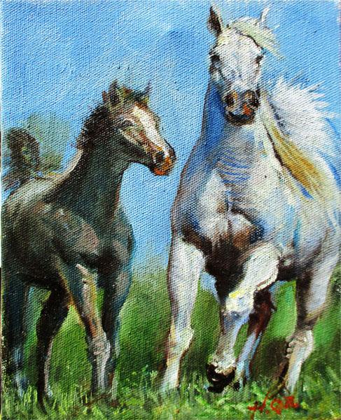 Pony Run-Original- Hilario Vallejo Guzman