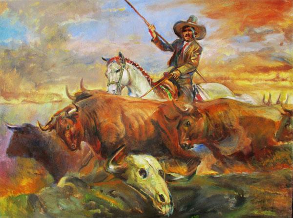 Western Lanscape-Original Oil on Canvas- Hilario Vallejo Guzman