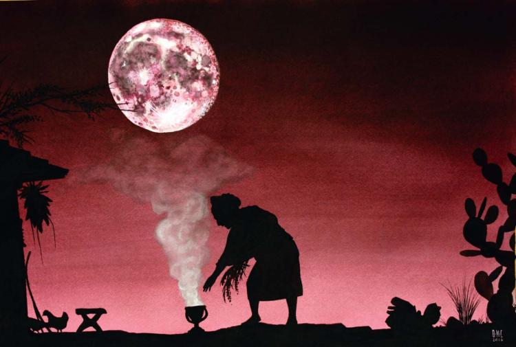Moon Harvest Rituals- Original Watercolor on Archival Paper- Daniel Munguia Cortez