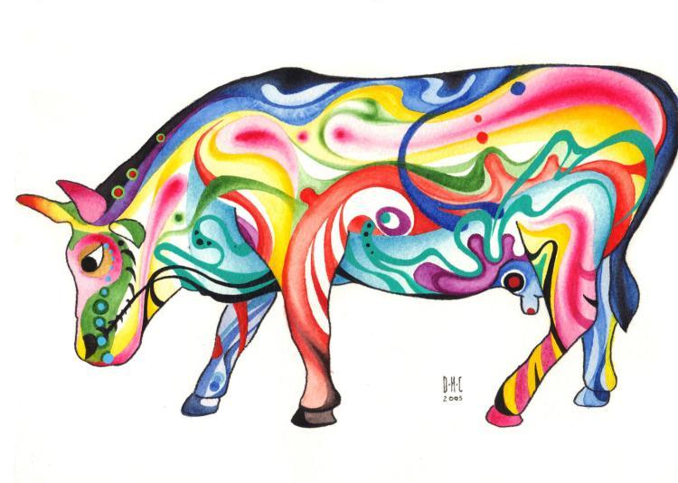 Mystical Cow- Original Watercolor on Archival Paper- Daniel Munguia Cortez