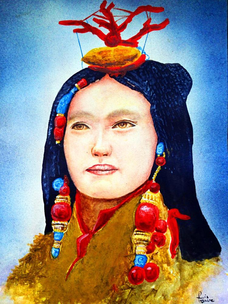 Tibetan Woman- Mixed Media on Archival Paper- Original Layrisse