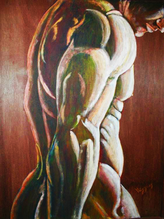Morphed Torso-Acrylic on Wood Board Original- Pablo Vazquez