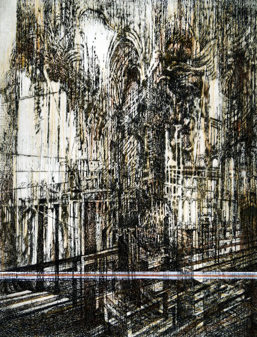 Gothic Cathedral-Mixed Media on Paper-Mauricio vega