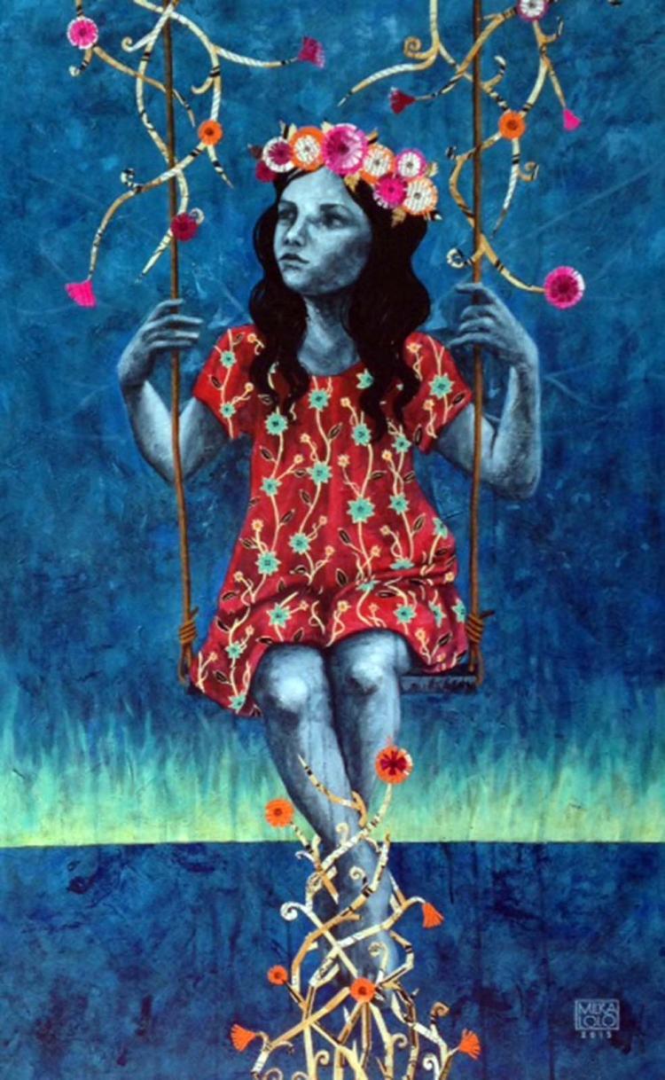 Memorias mudas de un corazón ligero II-Mixed Media on Woodboard- Milka LoLo