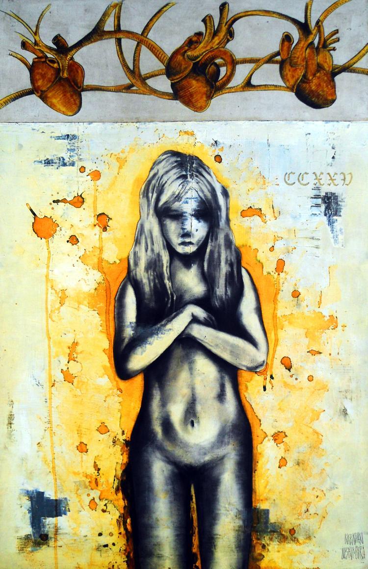 Sweet Heart Girl- Oil and Charcoal on Wood board- Rene Rabadan