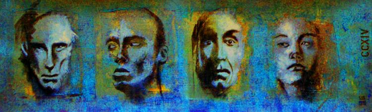 Study of Faces CCXIV- Oil and Charcoal on Paper- Rene Rabadan