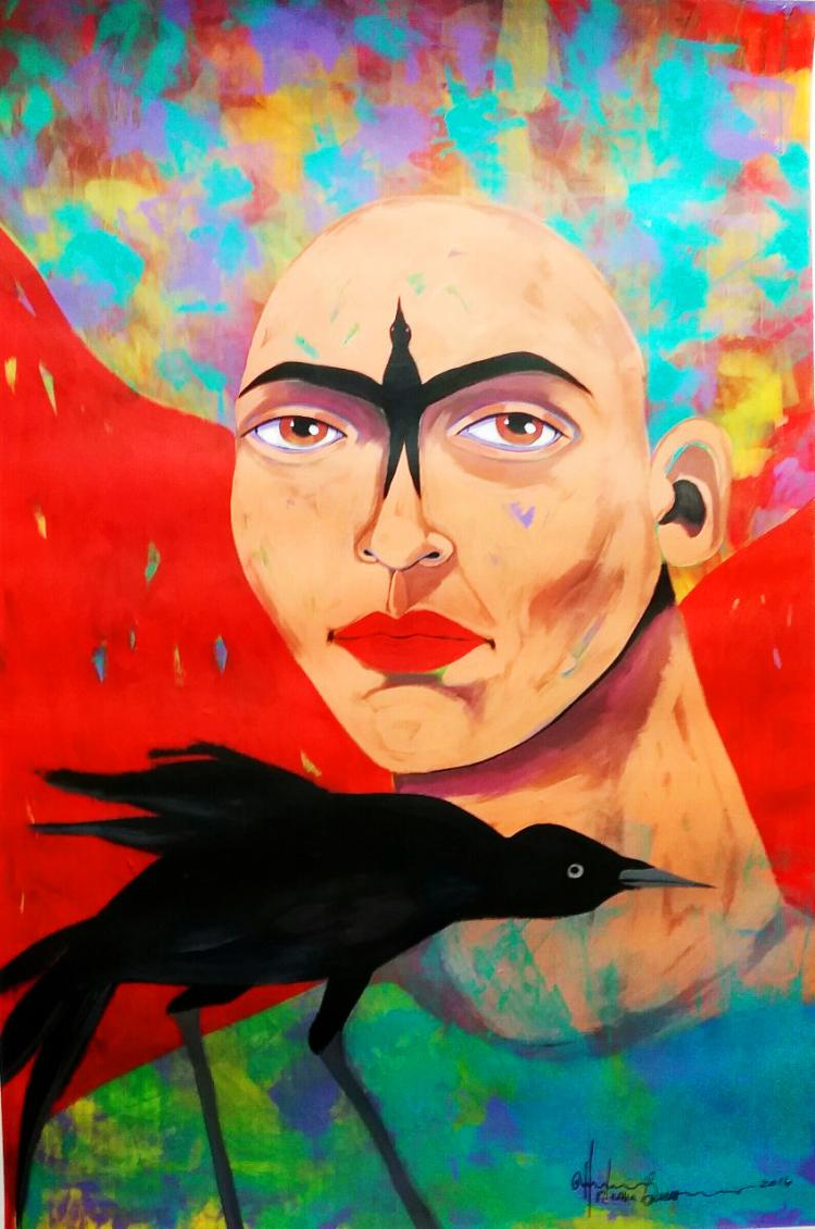 Frida and The Crow-Acrylic on Canvas Original Bueno