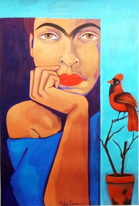 Frida Awaits-Acrylic on Archival Paper- Hortencia Bueno.