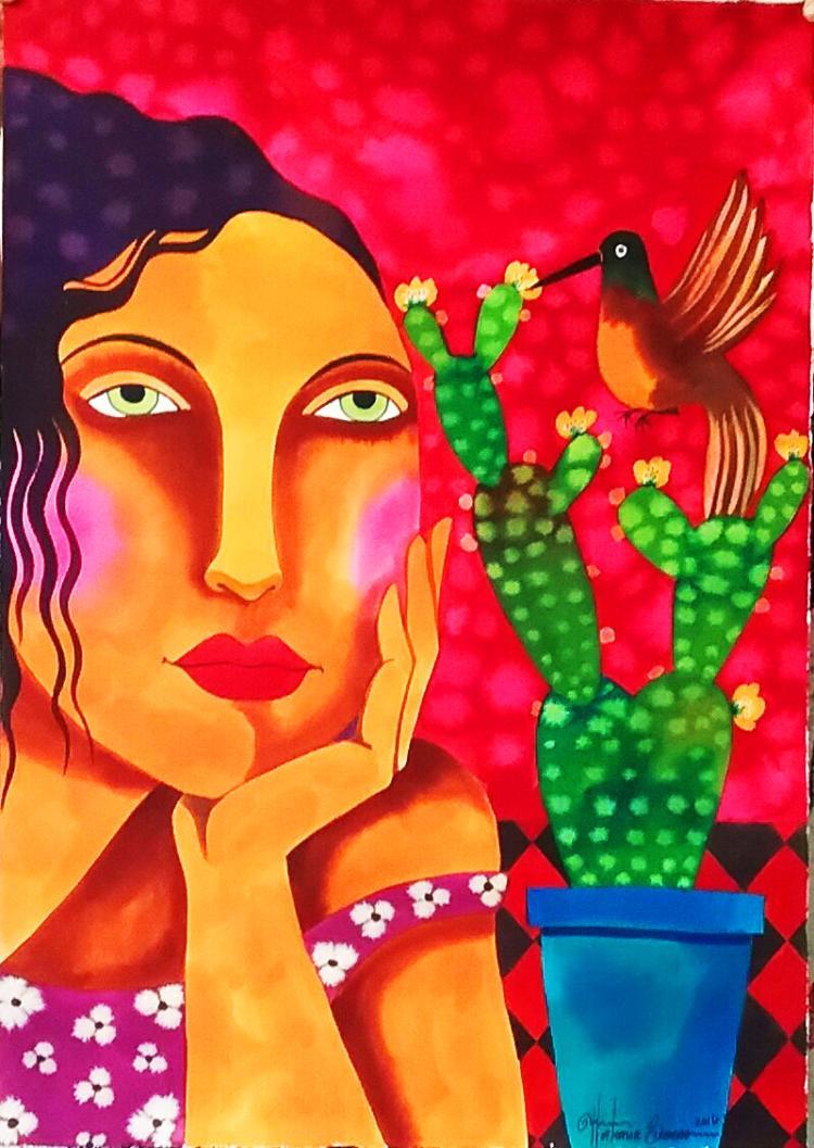 The Hummingbird-Watercolors on Archival Paper-Hortencia Bueno