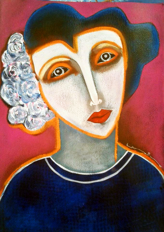 Blue Lady Pink Background-Acrylic on Archival Paper Original- Laura Bueno