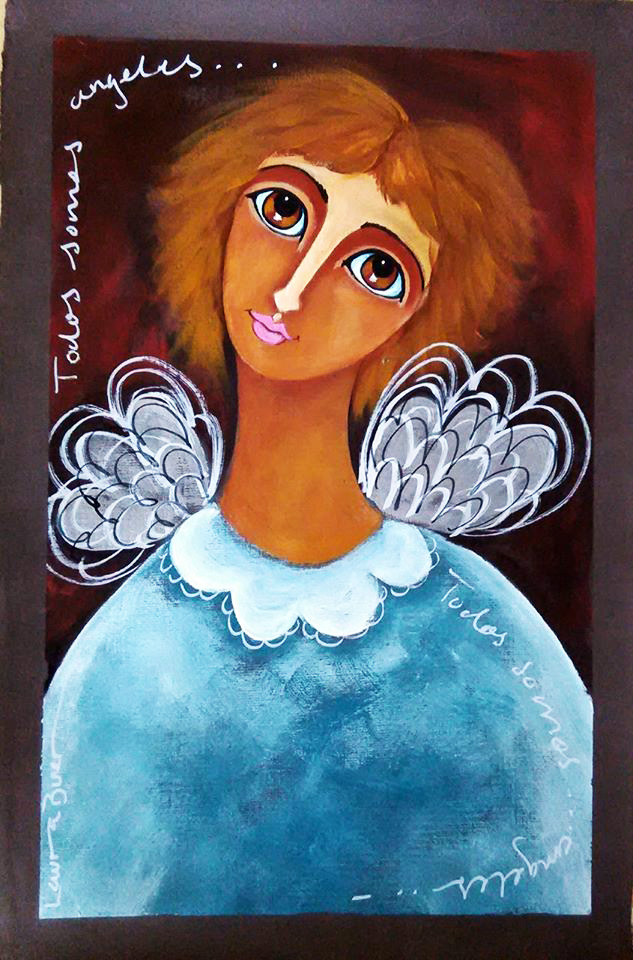 Blue Sweater Angel-Acrylic on Archival Paper- Laura Bueno