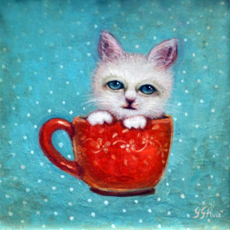Tea Time Kitty- Oil on Woodboard- Gabriela Garcia