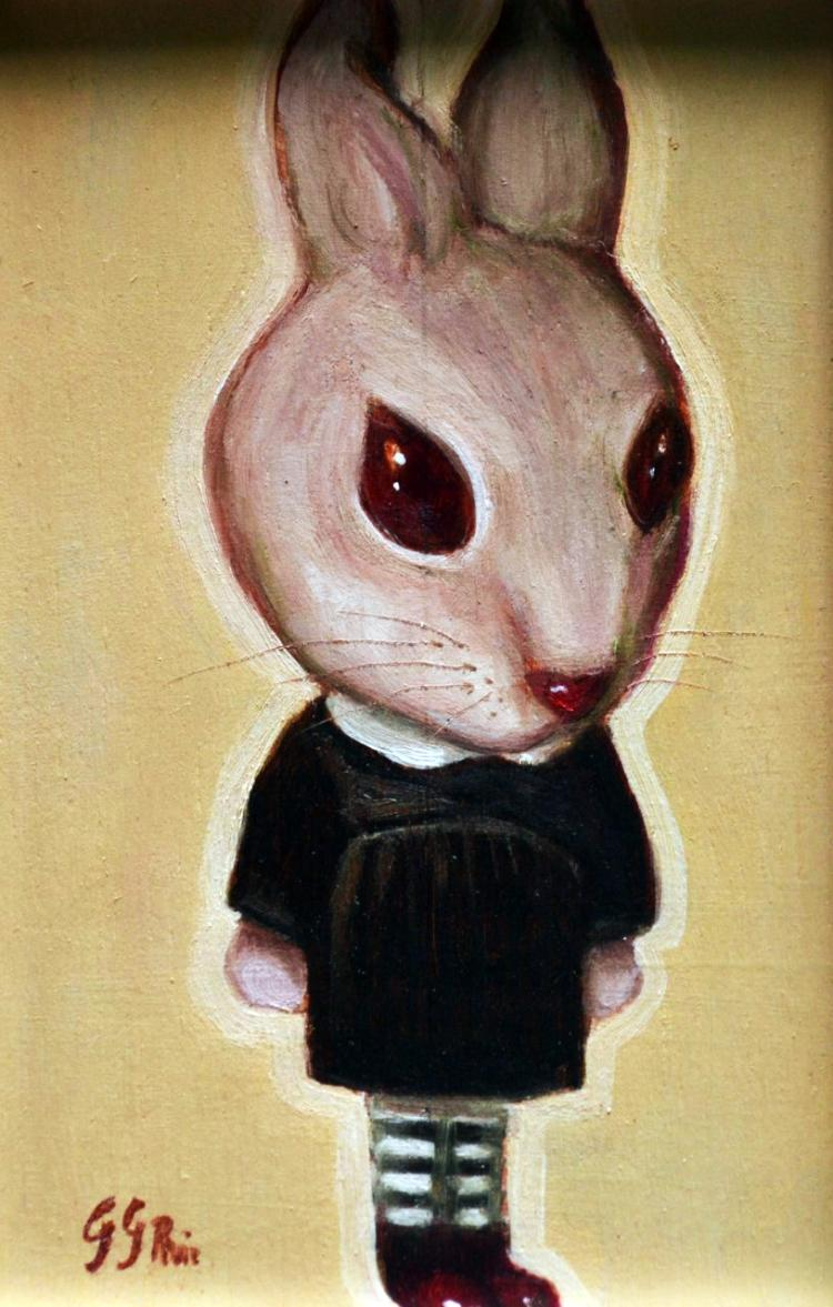 School Rabbit- Oil on Woodboard- Gabriela Garcia