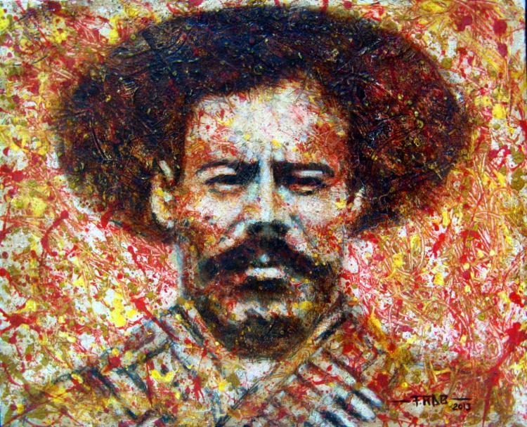 Viva Pancho Villa!-Original Oil on Canvas by Ramirez Aguilar