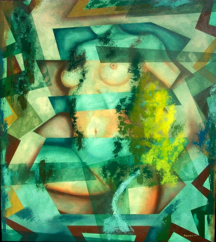Abstract Jade Lady-Original Roavi