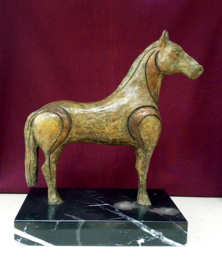 Tojan Horse- Bronze and Marble Sculpture by Antonino